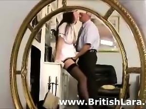Mature British lady strips for businessman pussy fingering