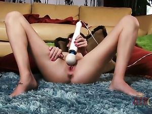 Brunette oriental Kiera Winters with small boobs and hairless pussy sticks...