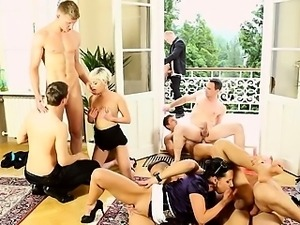 Group orgy blonde sucking and fucking