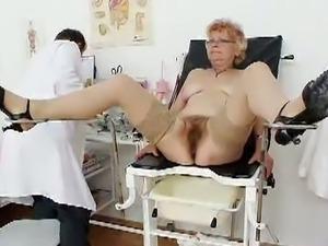 Pussy examination with grandma
