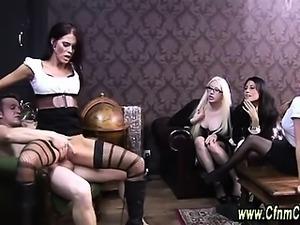 Sexy clothed cfnm femdom cumshot