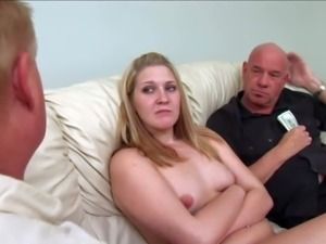 Shy pale amateur blonde with natural tits and average body gets naked for...