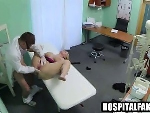 Busty squirting blonde gets fucked by her doctor