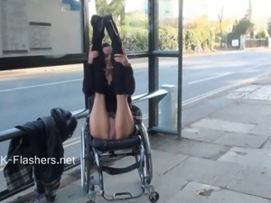 Paraprincess outdoor exhibitionism and flashing wheelchair bound babe showing...