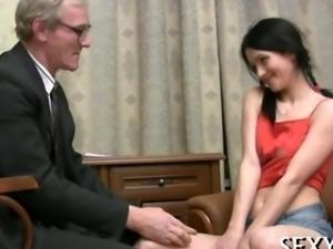 Sexy girl seduces an old man into sex