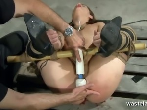 Kinky brunette tied and toyed