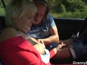 He picks up and fucks hitchhiking granny