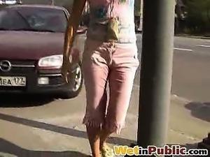 Pink breeches of a blondie get pee-wet