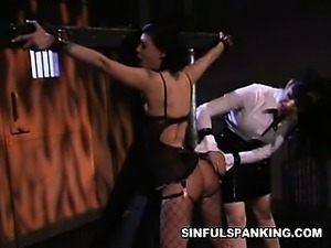 Dark Haired Beauty Spanked