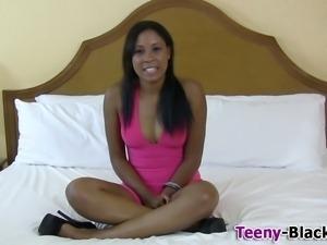 Ebony teen hottie in high heels greedily sucking on hd cock