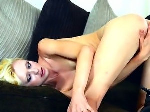 Cute skinny blonde Jessi Green with pierced belly button and long legs in...