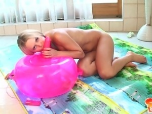 playing with the pink sybian in the water