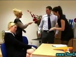 Cfnm femdom girls office handjob.