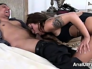 Sexy brunette beauty Anna Nova gets to ride a cock in this