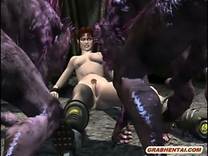3d anime gangbang by monsters in the outdoors