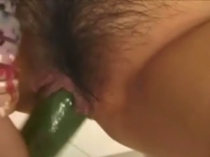 Exotic beauty asian giving some cucumber lovin