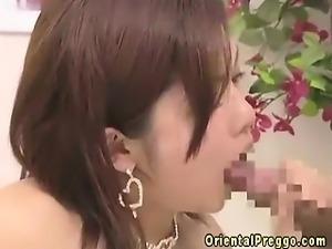 Oriental preggo tasting hard cock