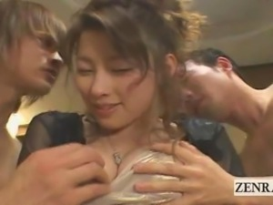 Subtitled Japanese adult party sloppy seconds threesome