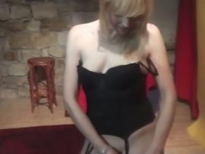 Michaela's hot lap dance in black lingerie