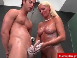 Hot blonde milfs handjob and blowjob in up close view