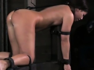 Spider gagged sub getting caned