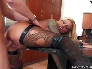 Tattooed busty blonde milf Britney Shannon is his wifes alternate friend with...