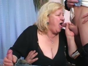 Double cock fun for chubby blonde grandma