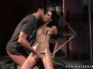 Brunette Amanda Baby cant get enough and takes guys rock solid boner in her...