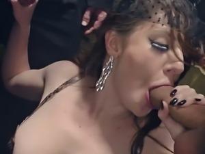 Filthy babe Samantha Bentley gangbang at the party