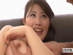 Subtitled embarrassed busty Japan AV stripping foreplay