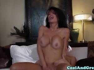 Busty milf Veronica Avluv tasting young guys jizz in this high def video