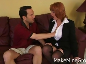 Redhead cougar blows her hot neighbor