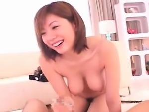 Subtitled hanging breasts Japanese blowjob facesitting