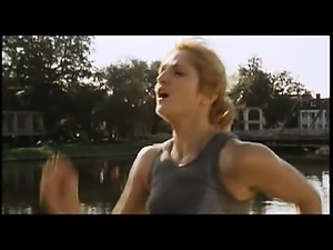 Ellen Barkin making out with a guy and having him pull her