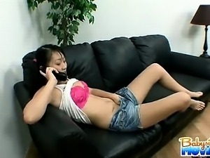 Sexy brunette babysitter Evelyn Ling gets caught