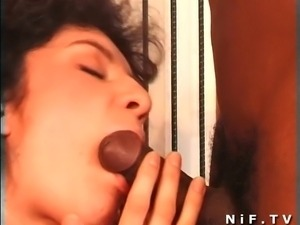 French brunette slut gets banged outdoor by a black cock
