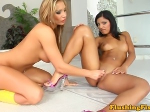 Fisting loving lesbians fill their holes and cant get enough