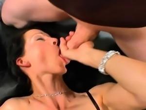 Pussy slammed slut swallows cum