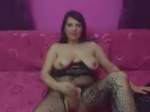 Tranny Gets a Boner and Masturbates her Hard Dick