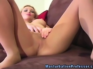 Pantyhose loving model in solo rubbing her clit