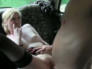 Petite horny blonde chick banged hard by the pervert driver