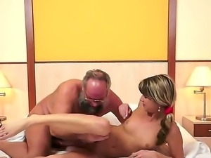 Perverted mature man seduces this pretty blonde chick Doris Ivy to have sex...