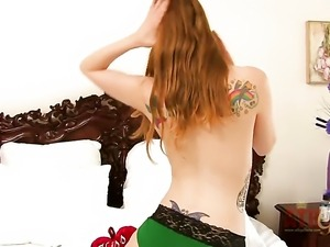 Blonde Ela Darling with small tities and clean twat strips naked and plays...