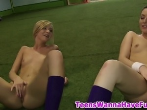 Amateur soccer lesbians fingering pussy outdoors in hd