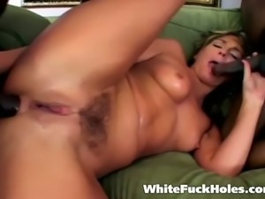 Hot blonde gets banged from both ends by 2 studs