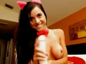 Busty Latina Babe as A Devil Masturbating