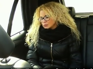 Blonde with panties aside fucked in fake taxi