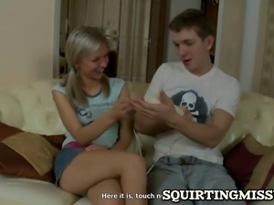 blonde is eager to learn how to get her pussy to squirt and thi guy is a real...