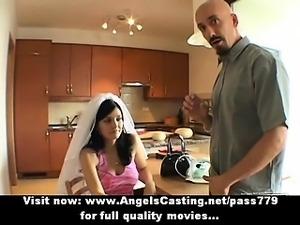 Amateur lovely brunette bride nice talking with a big guy
