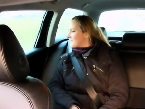 Plump amateur anal fucks in car in public
